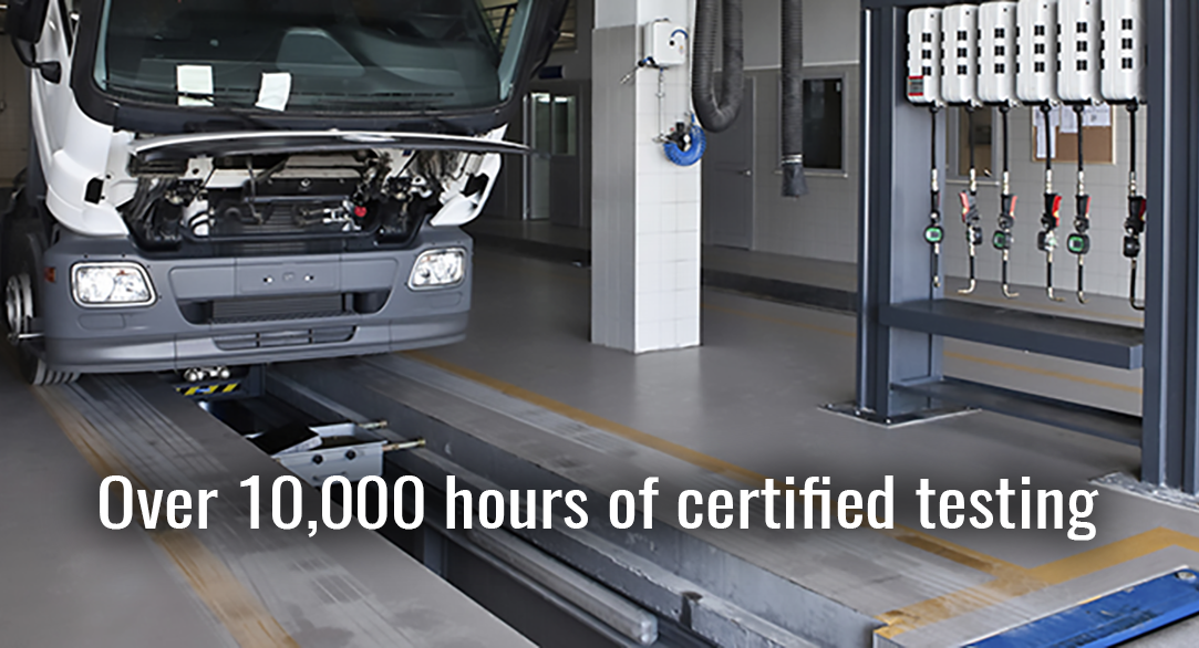 Over 10,000 hours of certified testing